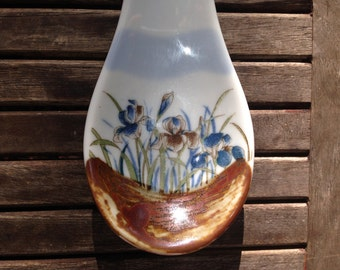 Vintage Pottery Iris Spoon Rest
