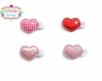 Valentine Baby Girl Heart Hair Clip Set, Hair Accessories, Pink Red White Heart Hair Clip, Valentines Clippie, Baby Hair Clips, Hairclip
