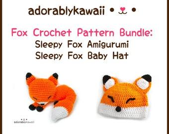 Sleepy Fox Crochet Pattern Bundle, Sleepy Fox Amigurumi, Sleepy Fox Baby Hat, Crochet Pattern Bundle, Fox Crochet Baby Patterns