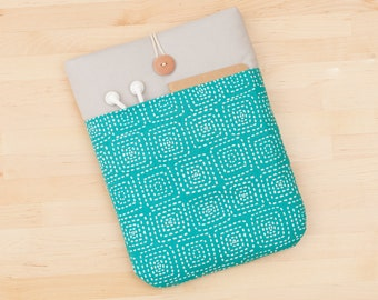 iPad Pro case / iPad Air cover / iPad Air sleeve / padded with pockets  - blue squares -