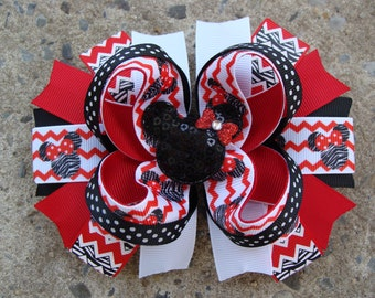 Minnie Mouse Hair Bow-Large Hair bow - Red and Black Minnie Mouse Hair Bow Chevron hair bow