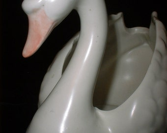 Graceful and Realistic Porcelain SWAN Vase Container from JAPAN