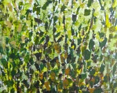 "ORIGINAL abstract TREES painting -18""x36"" green yellow brown modern painting"