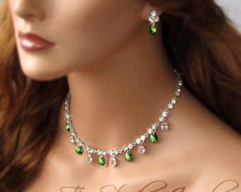 Emerald Moss Green Crystal Necklace and Earring Set for Bride or Bridesmaid - NILA