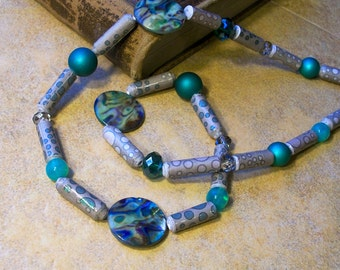 Blue Statement Necklace - Blue Paper Bead necklace -Eco Friendly and lightweight - FREE SHIPPING