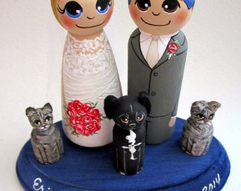 Wedding Cake Topper / Custom Painted Wood Peg Dolls/ Personalized Plaque / Couple Plus 3 small pegs (perfect for children or pets)and Plaque