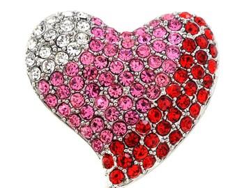 Multicolor Heart Valentines Crystal Pin Brooch 1002632