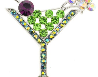 Green Martini Glass Crystal Pin Brooch 1000482
