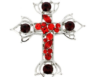 Red Cross Crystal Brooch and Pendant (Chain Not Included) 1001074