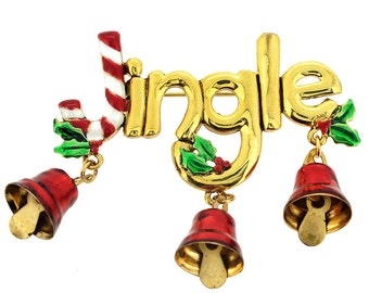 Jingle Bell Christmas Candy Cane Pin Brooch 1003201