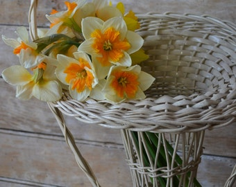 Vintage Woven Victorian Basket For Flowers Shabby Chic
