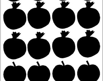 apple and pomegranate chalkboard labels stickers drink labels