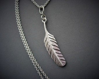 Silver feather pendant and chain