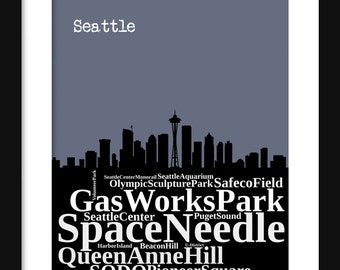 Seattle Skyline Typography Print Poster Map