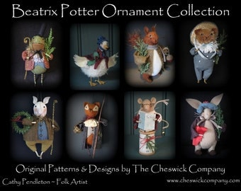 Beatrix Potter Ornaments PATTERN PACKET for all 8 ornaments by cheswickcompany