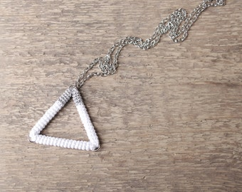 Triangle Pendant Necklace White Silver Croche Tube