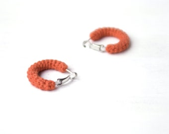 Orange Earrings, Mini Crochet Tube Hoops, 1 inch hoop earrings