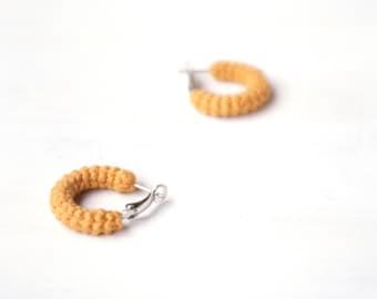 Yellow Earrings, Mini Crochet Tube Hoops, 1 inch hoop earrings