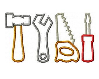 "Toy Tool Set Applique Machine Embroidery Design Patterns in 4 sizes 3"", 4"", 5"" and 6"" Hammer, Hand Saw, Screwdriver and Wrench"