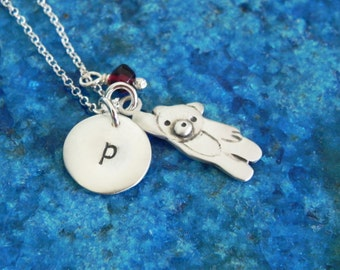 Personalized teddy bear sterling silver necklace with birth stone - custom necklace - baby shower gift Valentine gift