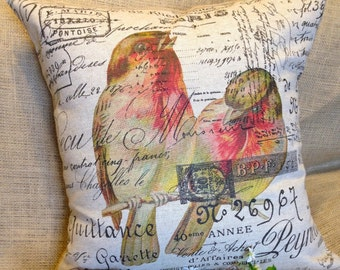 """Pillow Cover French Script and Burlap Pillow Slip """"Love Birds"""" by Gathered Comforts"""