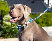 Ocean Beach plaid, Designer dog Bow Tie, collars, bowtie collar leash, Dog and Cat Collar, Bow Tie Dog, Wedding Dog Collar