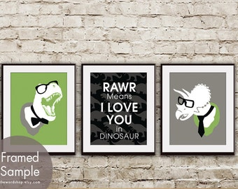 RAWR Means I Love You in Dinosaur (T-Rex and Triceratops) Set of 3 - Art Prints (Grass Green, Black and Gravel)