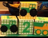 Tractors & Trucks personalized wood boys name childrens blocks - Trucks decor - littles Boys personized gifts - boy room decor - photo prop