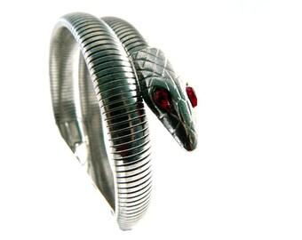 Vintage Silver Snake Serpent Bracelet - Egyptian Revival-  Red Rhinestone Eyes - Mesh Scales
