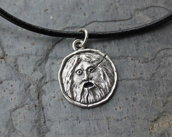 Bocca Della Verita Leather Necklace - Ancient Roman symbol charm -Italy - mouth of truth - pagan - free shipping in USA - mens & womens