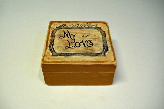 Hand Painted Wooden Jewelry Box / Wedding Box / Sweetheart Gift / Love