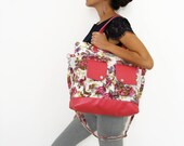 Roses Cotton Canvas & Leather Accent Tote. Zipper Closure Handbag. Handmade Tote Bag. Free Shipping Worldwide