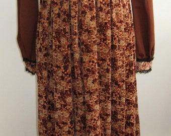70s Long Dress / Hippie Dress / BOHO / Gunne Sax Look / 70s Maxi Dress / Prairie / Fall Fashion / Fall colors