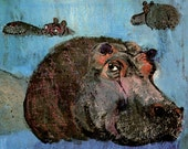 SMILING HIPPOPOTAMUS print, illustration by Brian Wildsmith, nursery print Hippo