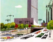 Vintage print of NEW YORK street and vintage cars, mid century illustration of United Nations Headquarters