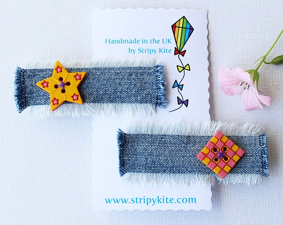 Apricot Star and Chequer Square Hair Accessories. Pair of pink and yellow hair clips. Star shaped hair accessory.