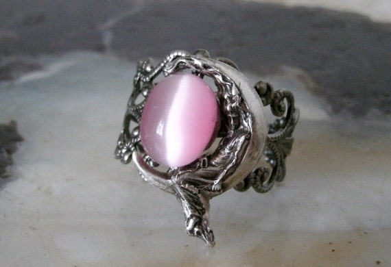 moon magic jewelry goddess on crescent moon ring wiccan jewelry pagan jewelry 5310