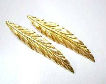 Gold Leaf Drop Earrings Vintage Monet Long Slim Leaf Feather Pierced Hook