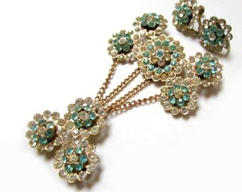 Vintage Rhinestone Sterling Chatelaine Set Brooch Pin Earrings Signed Vintage Art Deco Jewelry Antique Gold Vermeil Overlay Jewelry