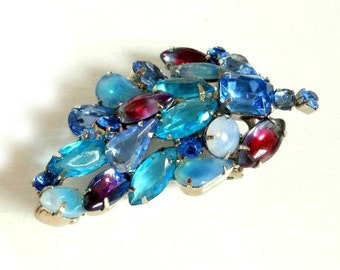 "Vintage Fruit Salad Brooch Blue Rhinestone Vintage Pin 2 1/2"" Huge Blue Teal Aqua Pink Brooch Gift Idea"