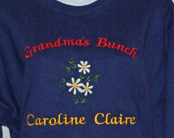 Grandma Sweatshirt, Custom Grandparent Gift, Personalize With Seven Names, Nana, Memere, Mammy, Mammie, Nonna, No Shipping Fee, AGFT 399