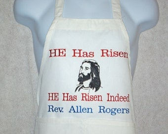 Easter Apron, He is Risen Religious Apron Pastor, Preacher, Priest, Personalize With Name, No Shipping Charge, Ready To Ship TODAY, AGFT 418