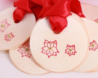 Christmas Tags (Doubled Layered) - Poinsettia Tags - Vintage Inspired Christmas Gift Tags  - Set of 8