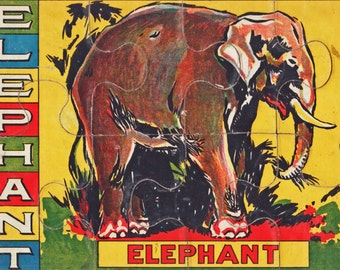 Vintage 1940s-50s Jigsaw Puzzle: Elephant