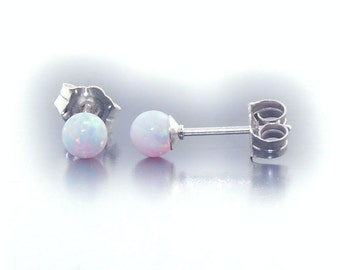 Lorraine: 4mm Australian Fiery White Opal Ball Stud Post Earrings, Solid 925 Sterling Silver, Small Minimalist Earrings, Tiny, Petite