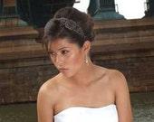 Michelle - Large Vintage style Jeweled Ribbon Headband - Black