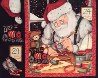 A Wonderful Santa Busy On Christmas Eve Fabric Panel Free US Shipping