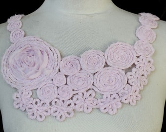 Cute   embroidered chiffon     applique baby pink    color   1 pieces listing