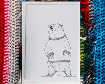 Tarquin the Bear in a Jumper Illustrated Greeting Card