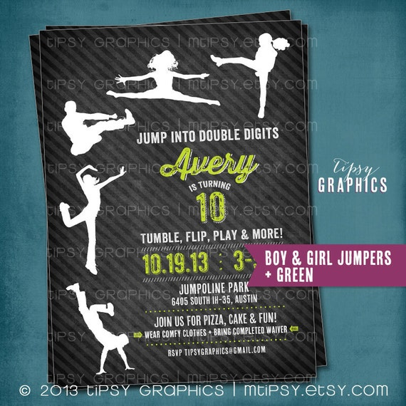 Trampoline Party Invitations: JUMP Tumble Flip. Chalkboard Trampoline Birthday Party Invite